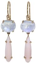 Irene Neuwirth Rainbow Moonstone Circle and Pink Opal Earrings
