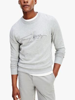 Tommy Hilfiger Tonal Autograph Organic Cotton Sweat Top, Medium Grey Heather