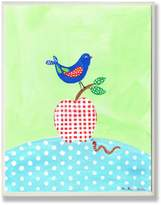 Stupell Industries The Kids Room by Stupell Bird Perched on Gingham Apple Rectangle Wall Plaque
