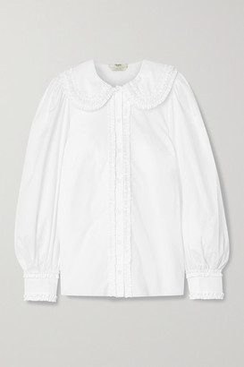 Fendi Ruffled Cotton-poplin Shirt - White