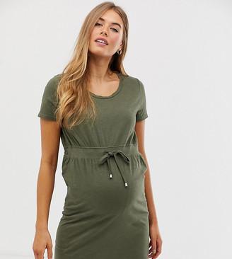 Mama Licious Mamalicious Maternity t-shirt mini dress with tie waist in khaki