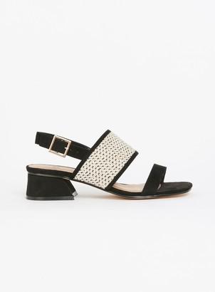 Evans EXTRA WIDE FIT Black Weave Flared Heel Sandals