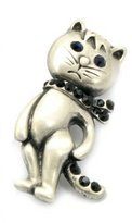 Brooched Funny Cat Brooch in Plated Brooch
