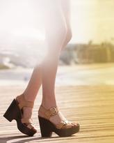 KORS Sahale Leather Buckle Sandal, Tan
