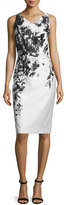 David Meister Sleeveless Floral Sheath Dress