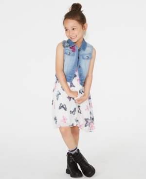 Rare Editions Toddler Girls 2-Pc. Butterfly-Print Shift Dress & Denim Vest Set