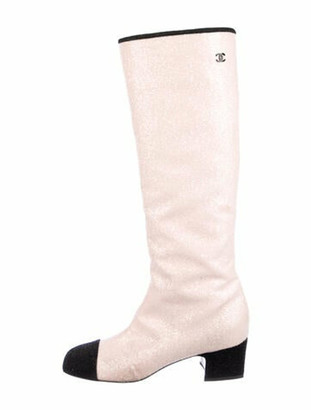 Chanel Fantasy High Boots Colorblock Pattern Riding Boots Pink