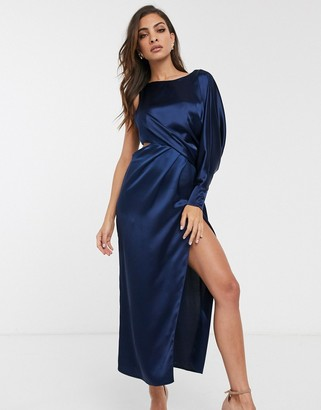 Asos Design DESIGN one sleeve midaxi dress-Navy