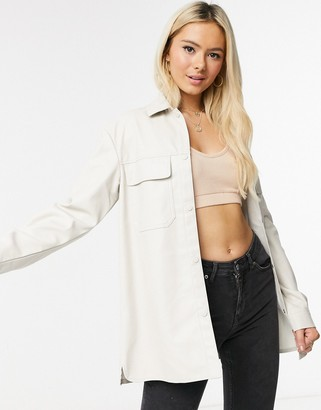 Pimkie faux leather overshirt in beige