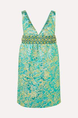 Michael Kors Crystal-embellished Metallic Brocade Mini Dress - Blue