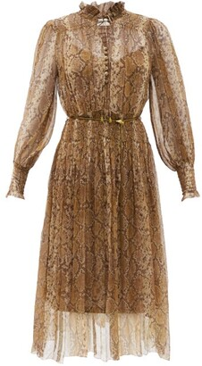 Zimmermann Botanica Python-print Silk-blend Georgette Dress - Animal