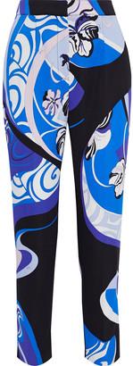 Emilio Pucci Cropped Printed Stretch-crepe Slim-leg Pants
