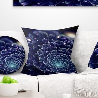 """East Urban Home Floral Abstract Fractal Flower Throw Pillow Size: 16"""" x 16"""", Product Type: Throw pillow"""