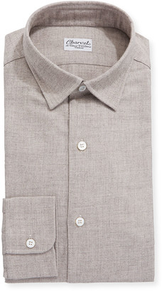 Charvet Men's Brushed Cotton/Wool Dress Shirt