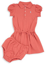 Ralph Lauren Baby Girls Babys Two-Piece Polo Puff Sleeve Dress and Bloomers Set