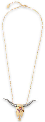Noir Large Longhorn 14-karat Gold-plated Crystal Necklace