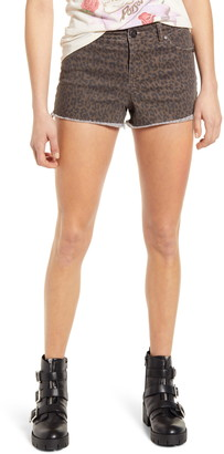 1822 Denim Leopard Print Cutoff Shorts