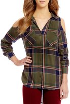 Gibson & Latimer Cold-Shoulder Plaid Blouse