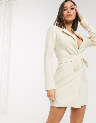 NA-KD tie waist blazer dress
