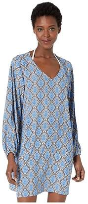 Tommy Bahama Desert Python V-Neck Dress Cover-Up (Blue Monday) Women's Swimwear