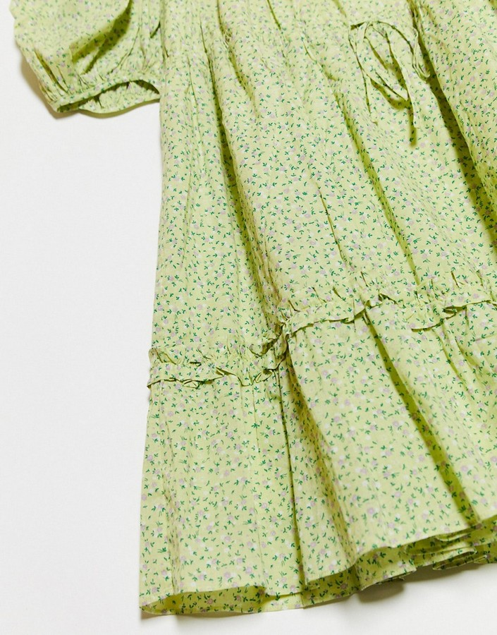 Thumbnail for your product : And other stories & ditsy floral print mini swing dress in green