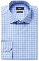 Hugo Boss Blue Gordon Checked Cotton-Poplin Shirt