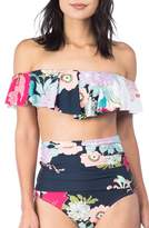 Trina Turk Royal Botanical Off the Shoulder Bikini Top