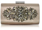 Love Moschino Women's Beige Satin Clutch.