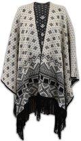 Crazy Girls Ladies Diamond Print Knitted Cardigan Reversible Poncho Aztec Womens Cape