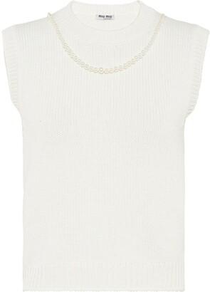 Miu Miu Pearl-Embellished Knitted Vest