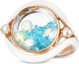 Moritz Glik 18kr rose gold, tourmaline, opal and diamond Evil Eye shaker ring