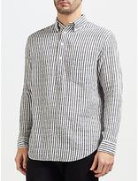 Gant Rugger Striped Cotton-linen Shirt, Evening Blue