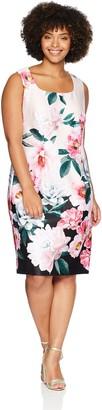 SL Fashions Women's Plus Size Sleeveless Midi Print Dress