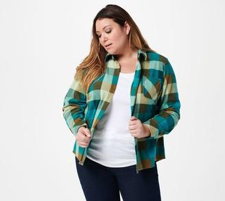 Denim & Co. Printed Lightweight Fleece Button-Down Top