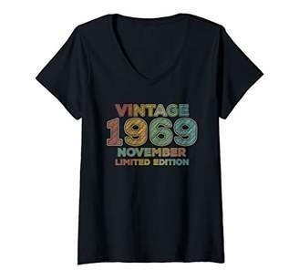 Womens 50th Birthday Gift Vintage November 1969 Fifty Years Old V-Neck T-Shirt