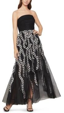 BCBGMAXAZRIA Embroidered Strapless Dress