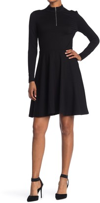 T Tahari Mock Neck Zip Long Sleeve Fit & Flare Dress