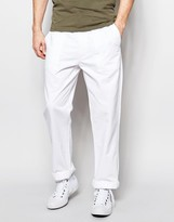 Asos Straight Trousers In White Twill With Front Pockets