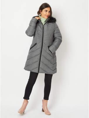 George Grey Faux Fur Hood Longline Padded Jacket