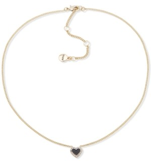 """DKNY Gold-Tone Pave Colored Heart Pendant Necklace, 16"""" + 3"""" extender"""