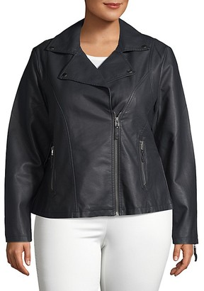 Max Studio Plus Faux Leather Moto Jacket