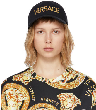 Versace Black and Gold Embroidered Logo Cap