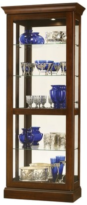 Howard Miller Berends IV Contemporary Modern, Rich Brown Solid Wood and Glass, Living Room, Slider, Curio Cabinet