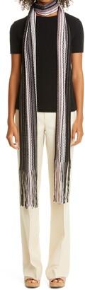 Missoni Zigzag Extra Long Metallic Wool Blend Skinny Scarf