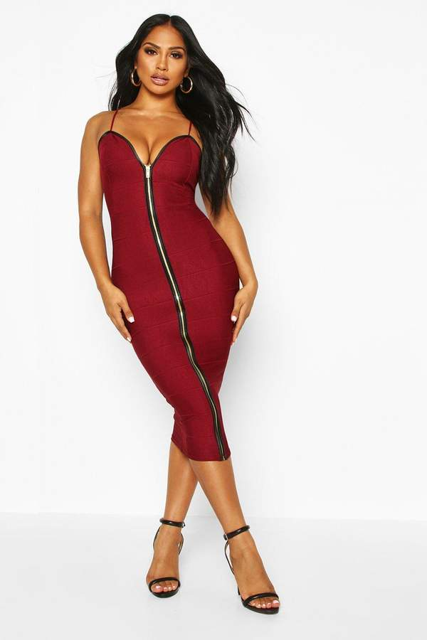 boohoo Bandage Zip Through Midi Bodycon Dress