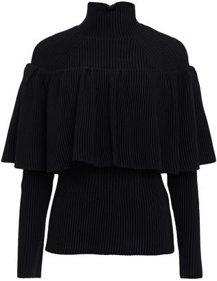 Carolina Herrera Layered Ribbed-knit Turtleneck Sweater