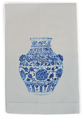 Yang Vase Lion Guest Towel - White - The French Bee