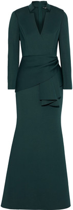 Badgley Mischka Wrap-effect Scuba Gown