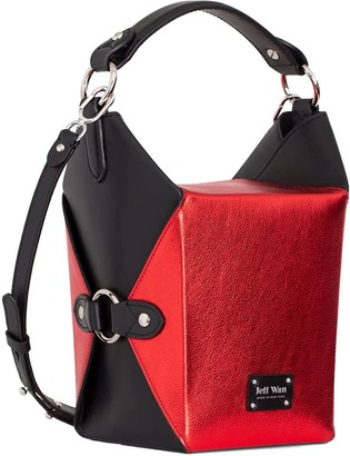Jeff Wan Bucket Bag Metallic Pebble Leather Red Le Morne Lunch Box