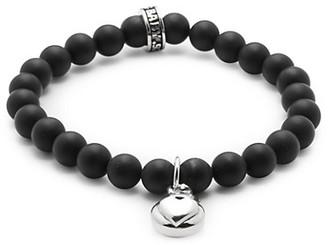 King Baby Studio Silver Heart 8MM Onyx Beaded Charm Bracelet